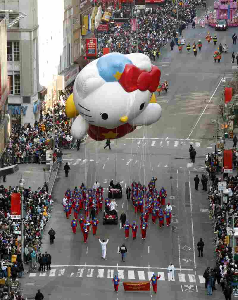 A Hello Kitty balloon floats down Broadway during the Macy's Thanksgiving Day parade in New York in 2008.