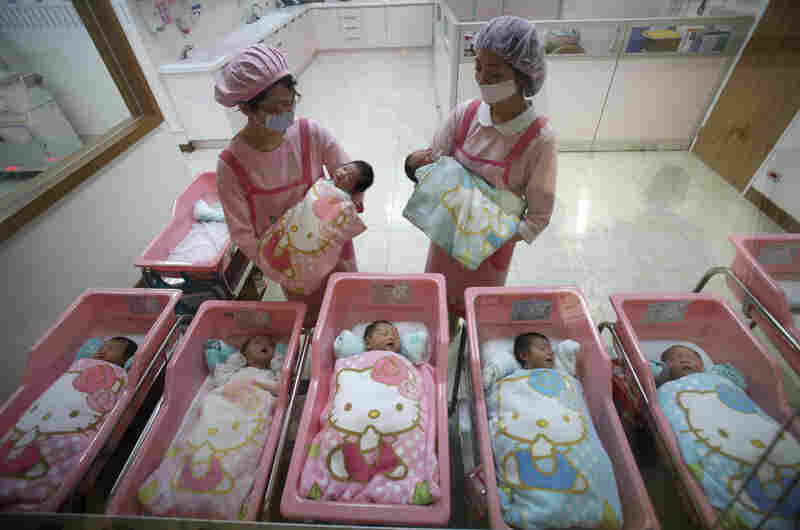 Nurses check on the newborns in the Hello Kitty-designed maternity ward at the Hau Sheng Hospital in Taiwan in 2009.