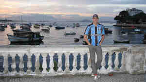 Robert Snyder takes a break at Baia de Guanabara, Brazil's second largest bay.