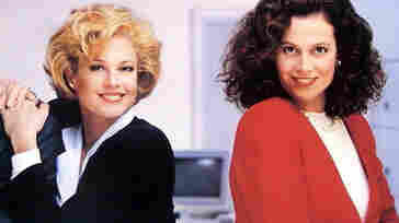 A publicity still from the movie Working Girl, which prominently featured the beloved power suit.