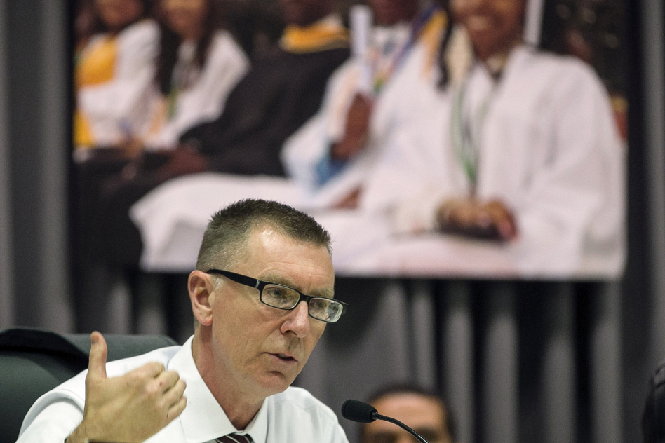 "Los Angeles Unified School District Superintendent John Deasy, seen in a photo taken last year, says his resignation Thursday was ""by mutual agreement. (Damian Dovarganes/AP)"