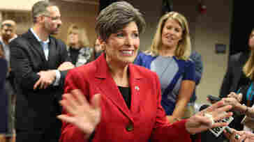 Republican senatorial candidate Joni Ernst speaks to the media after a debate. Polls show Democrat Bruce Braley running as many as 14 points ahead of Ernst among women.