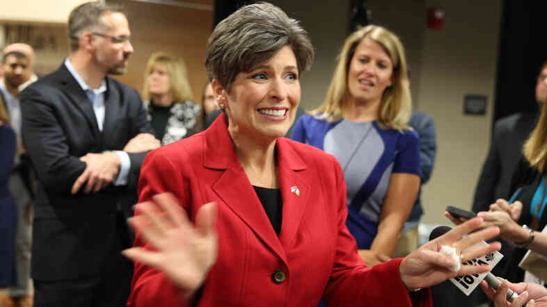 Republican senatorial candidate Joni Ernst, makes a statement to the media after a debate. Polls show Democrat Bruce Braley running as much as 14 points ahead her among women.