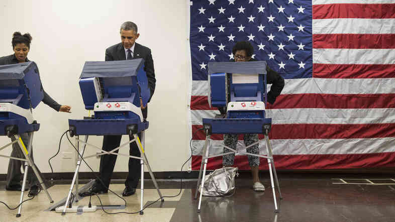 President Obama votes early in the midterm election at the Dr. Martin Luther King Community Service Center in Chicago on Monday.