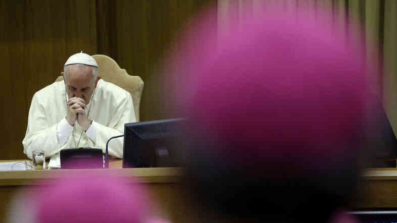 Pope Francis attends a session of the two-week synod at the Vatican that wrapped up over the weekend. The usually predictable event produced a robust debate among the bishops on how the Catholic Church should deal with gays as well as Catholics who are divorced or remarried.