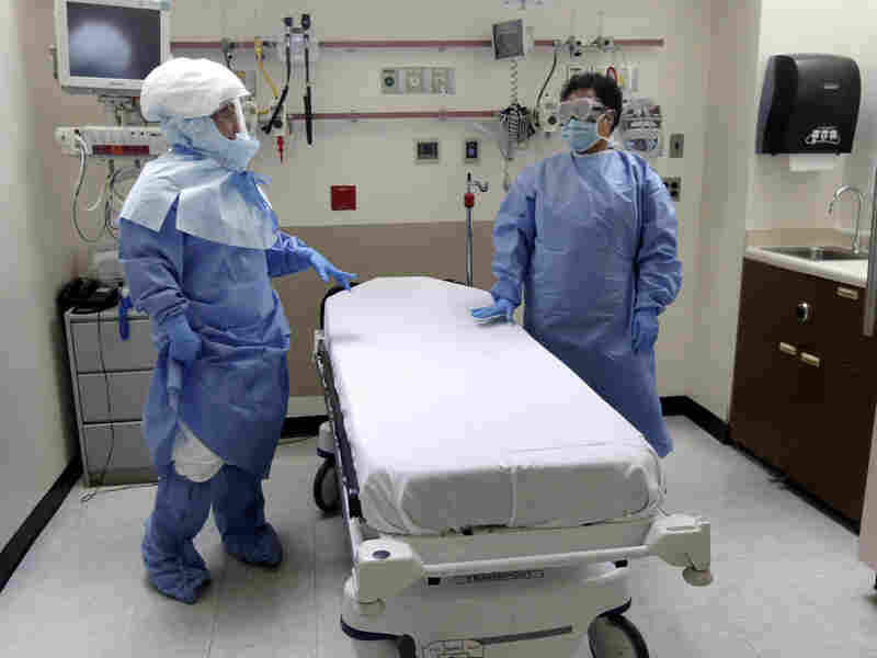 Nurse Belkys Fortune (left) and Teressa Celia, Associate Director of Infection Prevention and Control, pose in protective suits in an isolation room at Bellevue Hospital in N.Y. during a demonstration of procedures for possible Ebola patients, on Oct. 8, 2014.