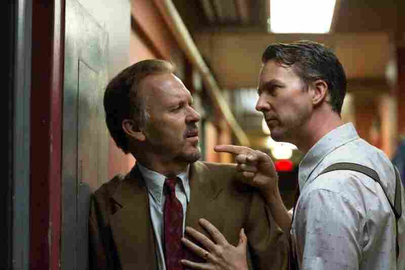 Mike Shiner, played by Ed Norton (right), and Riggan Thompson, played by Michael Keaton, have a tense moment backstage on Broadway.