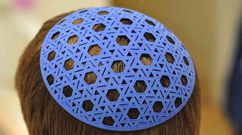 A yarmulke produced from a 3-D printer.
