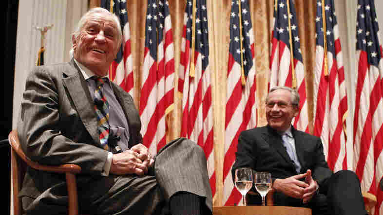"""Ben Bradlee, former executive editor of the Washington Post, left, and former reporter Bob Woodward talk in 2011 during the program """"Remembering Watergate: A Conversation"""" at the Richard Nixon Presidential Library and Museum in Yorba Linda, Calif.. (AP Photo/Chris Carlson)"""