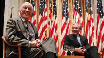 "Ben Bradlee, former executive editor of The Washington Post (left) and journalist Bob Woodward talk in 2011 during the program ""Remembering Watergate: A Conversation"" at the Richard Nixon Presidential Library and Museum in Yorba Linda, Calif."