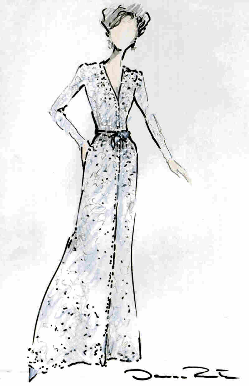 This photo sketch released by the White House in Jan. 2005 shows an Oscar de la Renta silver and blue embroidered tulle long evening gown that was to be worn by first lady Laura Bush at the 2005 Inaugural Balls on Jan. 20, 2005 in Washington.