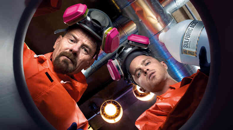Bryan Cranston (left) starred as chemistry teacher turned meth dealer Walter White, and Aaron Paul played former student and drug-dealing co-conspirator Jesse Pinkman in AMC's Breaking Bad.
