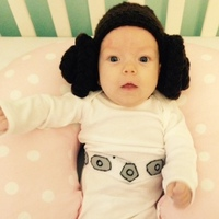 Evelyn FitzGerald, 2 months old, is in a Princess Leia — of Star Wars renown — costume made from recycled clothes by her mother Shenandoah Brettell of El Segundo, Calif.