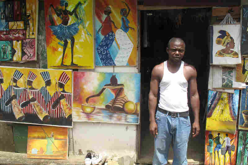 Missionaries used to buy art from local artists along Monrovia's Mamba Point. But Suah Kollie, who runs the S.K. African Arts Shop, says they've been too afraid of Ebola lately to come back.