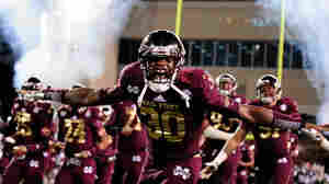 Brandon Wells of the Mississippi State Bulldogs takes the field before a game against the Ole Miss Rebels last year.
