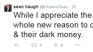Libertarian North Carolina Senate candidate Sean Haugh tweets his views on his support from American Future Fund.