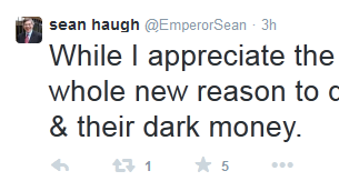 Libertarian North Carolina Senate candidate Sean Haugh tweets his views on his support from American Future Fund.