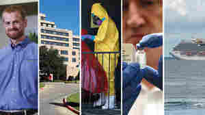 Scenes from an outbreak: Ebola survivor Dr. Kent Brantly; Texas Health Presbyterian Hospital in Dallas; A worker cleans the apartment where Ebola victim Thomas Eric Duncan stayed in Dallas; experimental vaccine; the Carnival Magic cruise ship off Cozumel, Mexico.