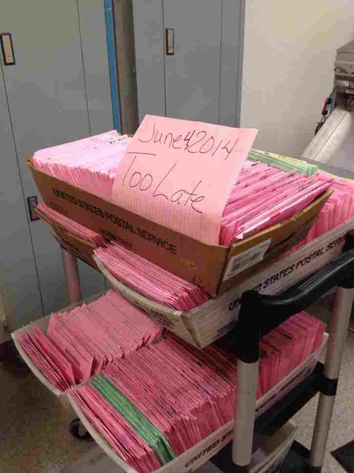 "Ballots from June 2014 marked ""too late"" in Sacramento County, Calif."