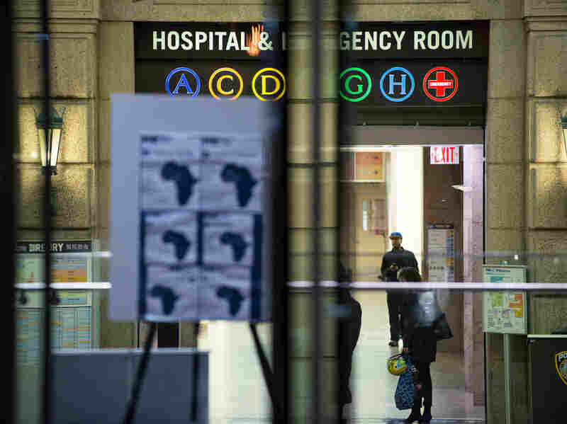 A health alert regarding Ebola is displayed Thursday at the entrance to Bellevue Hospital in New York City.