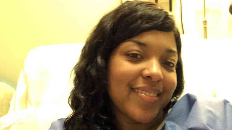 Amber Vinson in a photograph taken earlier this week at Emory University Hospital in Atlanta. Officials at Emory University Hospital and the Centers for Disease Control and Prevention couldn't detect Ebola in Amber Vinson as of Tuesday evening, her family said in a statement.