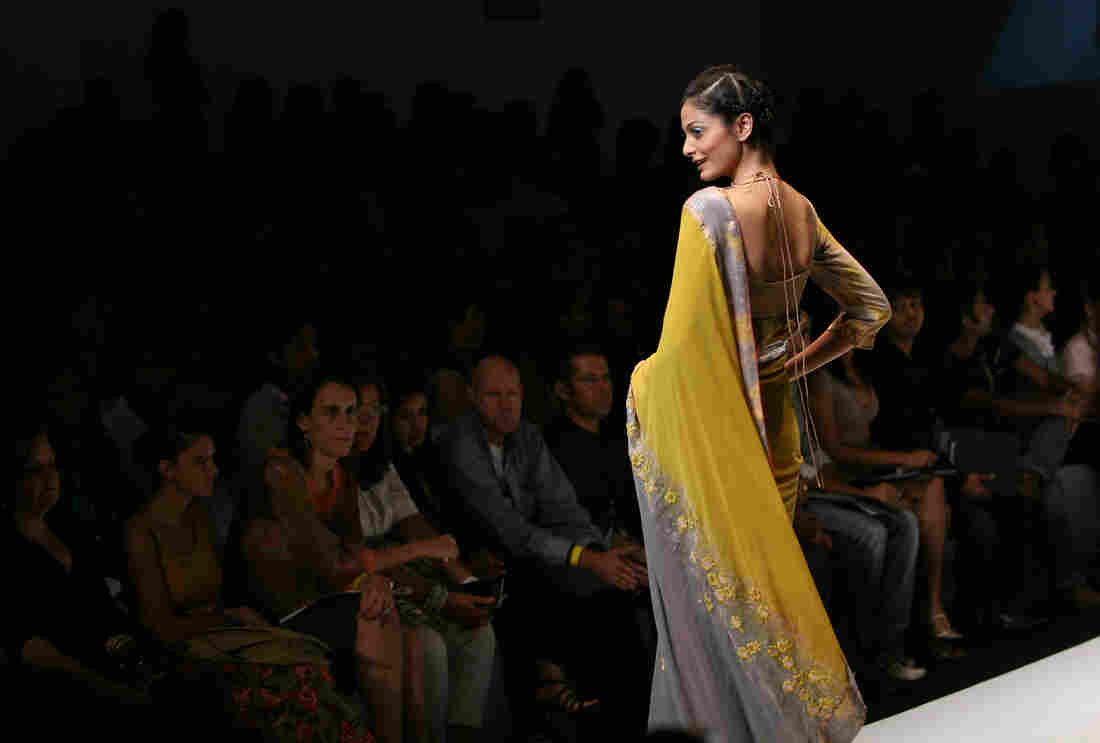 A model walks the catwalk wearing an outfit designed by Dev R Nil at Lakme Fashion Week Spring/Summer 2007 in Mumbai.