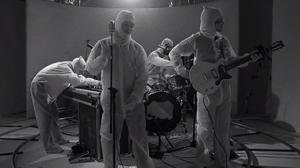 "The members of Fly Golden Eagle, in a scene from their new video for the song ""Stepping Stone."""