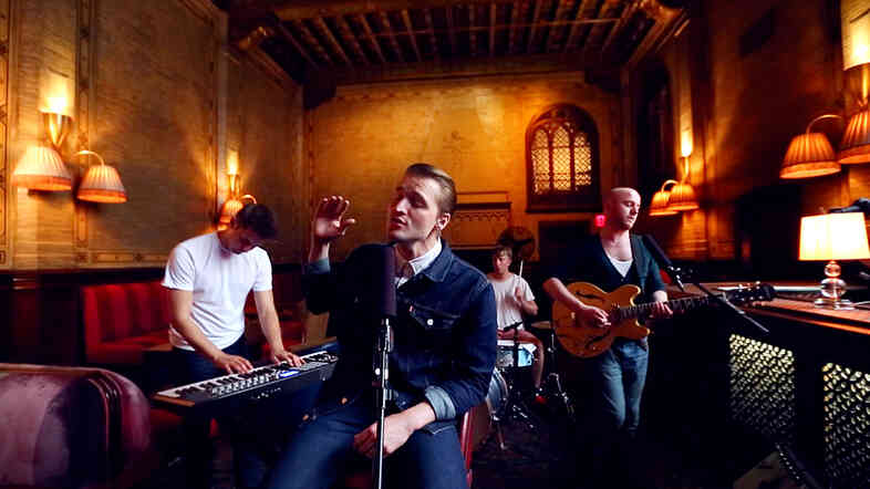 The members of Wild Beasts perform for a Field Recordings video shoot at The Campbell Apartment in New York City's Grand Central Station.