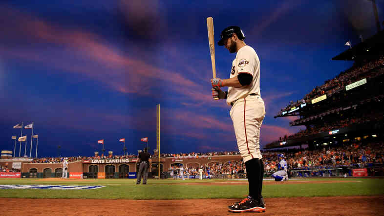 Brandon Belt of the San Francisco Giants waits on deck Friday in the fifth inning against the Kansas City Royals during Game Three of the 2014 World Series at AT&T Park in San Francisco, Calif.