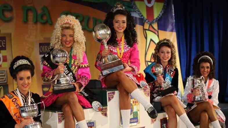 Julia O'Rourke (center) wins the 2014 World Irish Dancing Championships. Here, she poses with the top five performers in her age group.