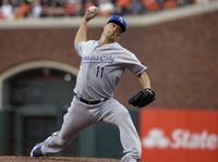 Kansas City Royals pitcher Jeremy Guthrie throws Friday during the first inning of Game 3 of baseball's World Series against the San Francisco Giants in San Francisco.