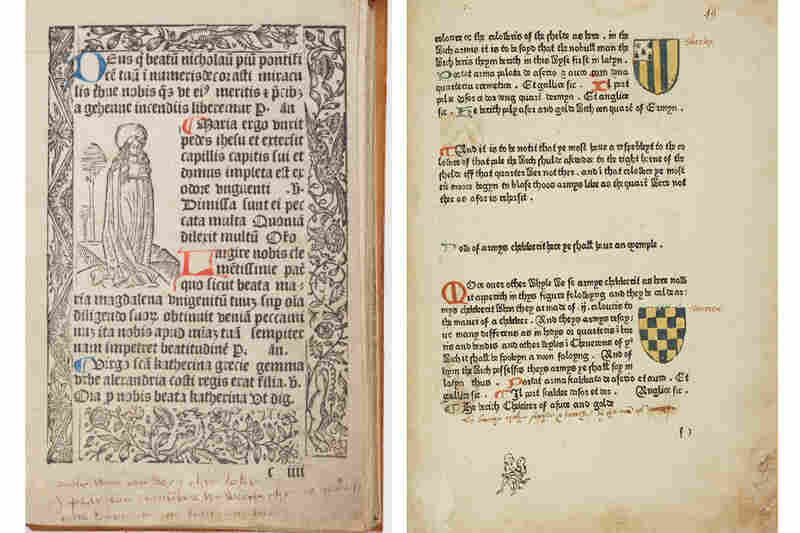 Pages from two books show (left) Katherine Parr's inscription to her uncle at the bottom of a page in his 1493 book of hours, and (right) A surprising doodle by a bored — but clearly inspired — reader in the margin of the Book of St. Albans.