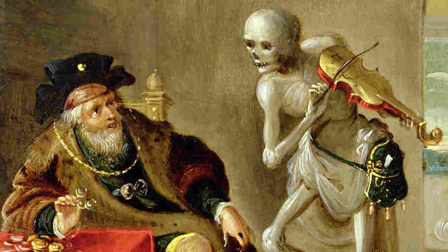 "Composer Camille Saint-Saëns' piece Danse Macabre draws on the late-medieval allegory of ""the Dance of Death"" — pictured here in a painting of the same name by Frans Francken II."
