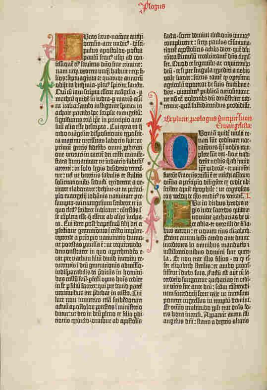 The opening of St. Luke's Gospel in the Gutenberg Bible.