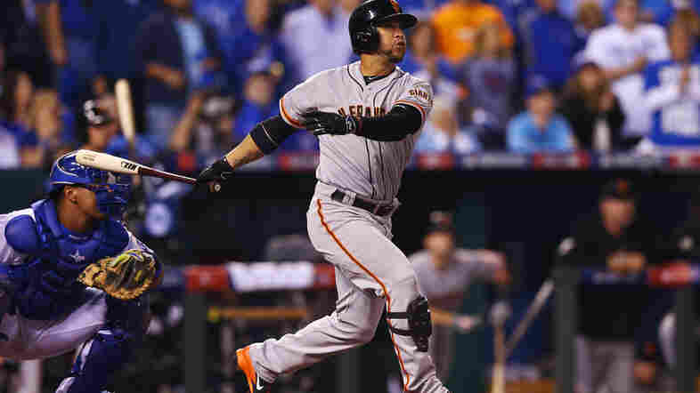 When the Giants' Gregor Blanco hit this solo home run to lead off the World Series' second game, three big parabolic microphones arranged around home plate captured the crack of his bat.
