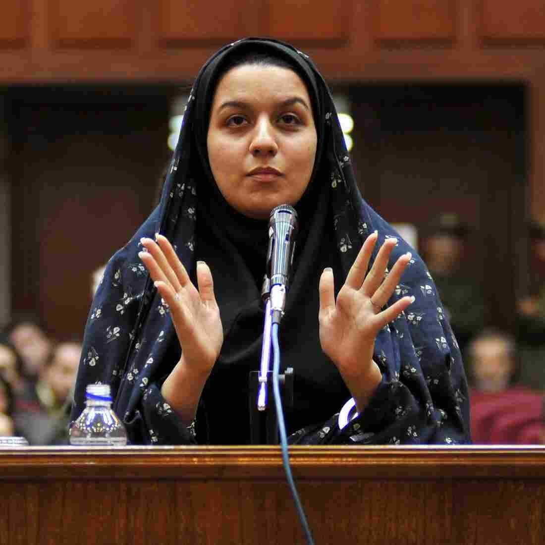 Reyhaneh Jabbari, seen here during a 2008 court date in Tehran, was executed in Iran Saturday. She had said she acted to defend herself from a potential rapist.
