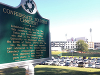 A state historical sign marks the Confederate Soldiers Cemetery on the University of Mississippi campus in Oxford, Miss.