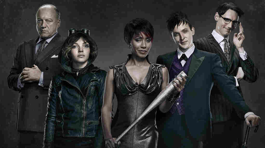 Fox's Gotham stars (from left) John Doman, Camren Bicondova, Jada Pinkett Smith, Robin Lord Taylor and Cory Michael Smith. The show was recently criticized for initially selecting a white stuntwoman as a body double for a black guest star.