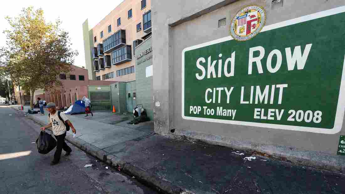 Los Angeles' Skid Row contains one of the largest concentrations of homeless people in the United States.