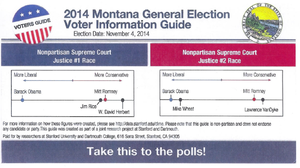 The flier sent to Montana voters by political scientists at Stanford University and Dartmouth College to study voter interest in nonpartisan races. Fliers were also sent to voters in California and New Hampshire.