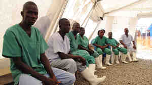 The nursing staff get a break at the Ebola care center run by Doctors Without Borders in Foya, Liberia. The center has helped stop the spread of the virus.