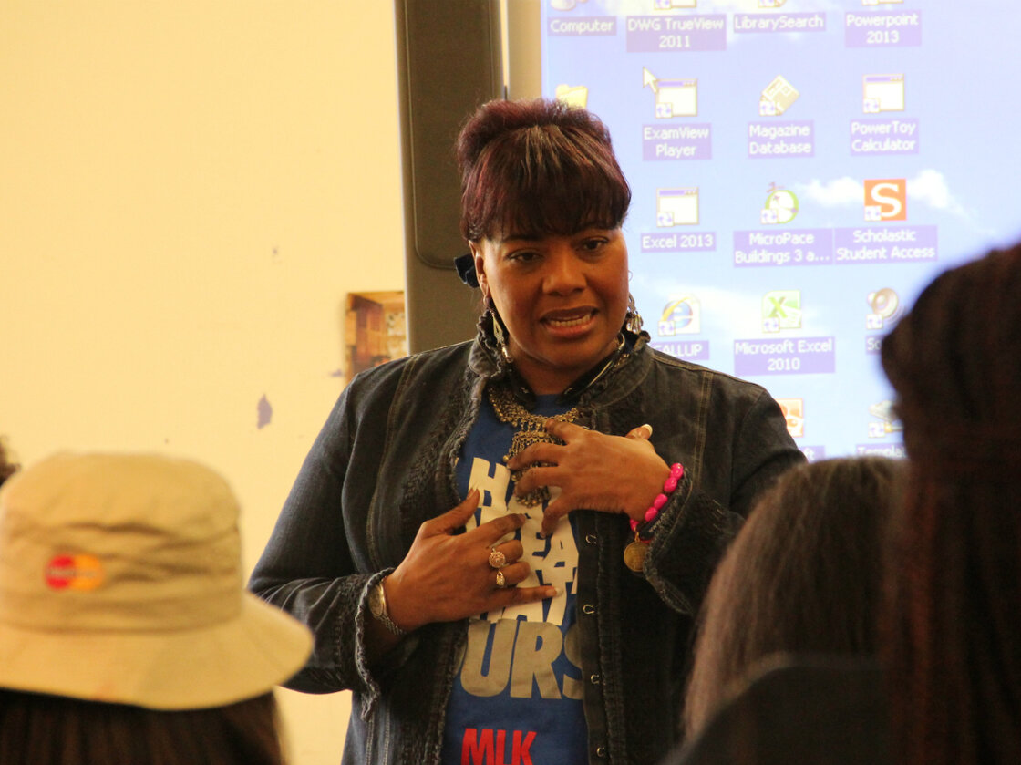 Bernice King speaks with students at Riverview Gardens High School about nonviolence.
