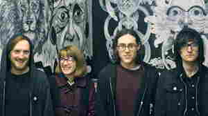 Nathan Stephens-Griffin, Naomi Griffin, Daniel Ellis and Jc Cairns of the British punk band Martha.