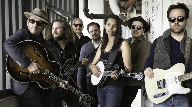 Elvis Costello, Rhiannon Giddens, Taylor Goldsmith, Jim James and Marcus Mumford are The New Basement Tapes. (Courtesy of the artist)