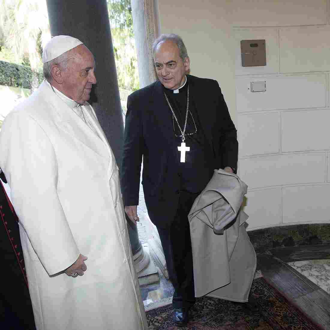 Pope Francis inaugurates a bronze statue of Pope Emeritus Benedict XVI with Chancellor of the Pontifical Academy of Sciences Bishop Marcelo Sanchez Sorondo.