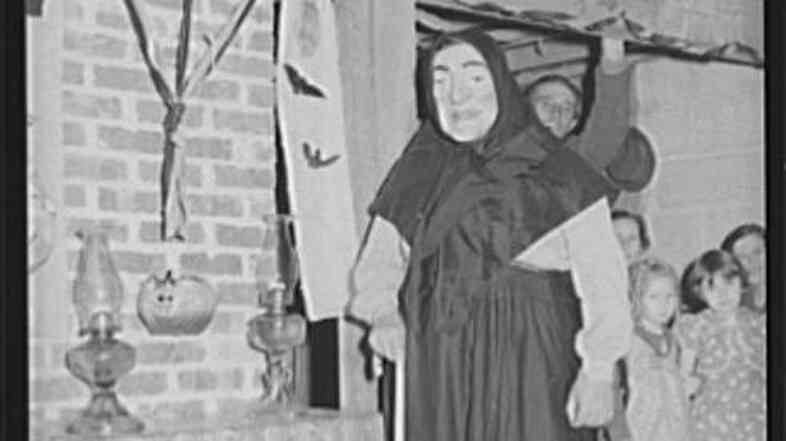 Winner of masquerade contest at a Halloween party in 1939 in Missouri.