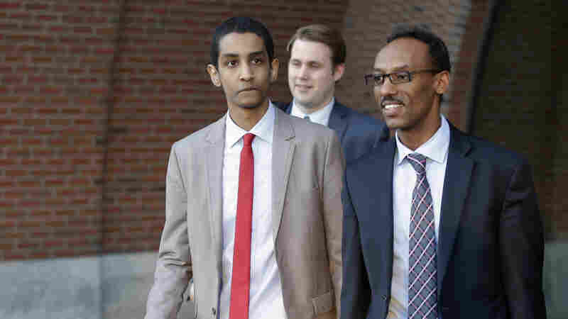 Robel Phillipos (left), a college friend of Boston Marathon bombing suspect Dzhokhar Tsarnaev, departs federal court on Monday. Phillipos was found guilty Tuesday of two counts of lying to the FBI.