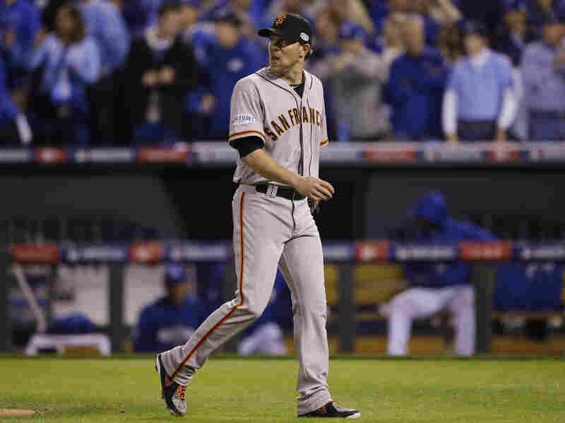 San Francisco Giants pitcher Jake Peavy walks off the mound after being relieved during the second inning on Tuesday. He took his second loss of the series.