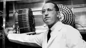 Dr. Jonas Salk stands in the University of Pittsburgh laboratory in which he developed a vaccine for polio. The photo was taken in 1956.
