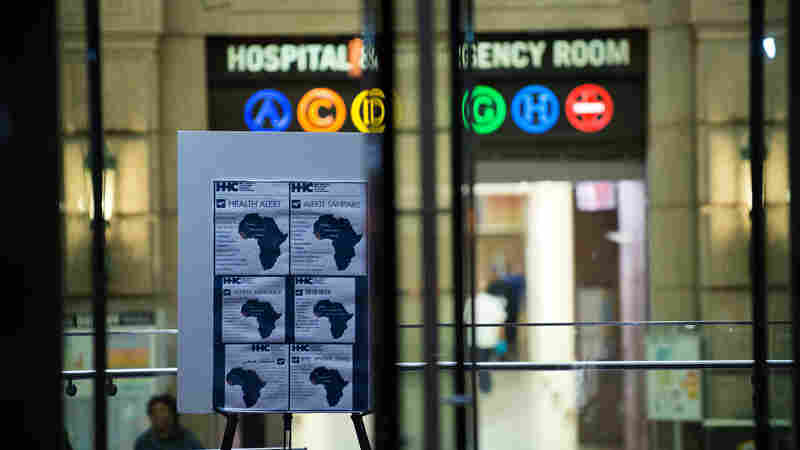 An Ebola health alert is displayed at the entrance to Bellevue Hospital in New York City, where Dr. Craig Spencer was quarantined after showing symptoms consistent with the virus.